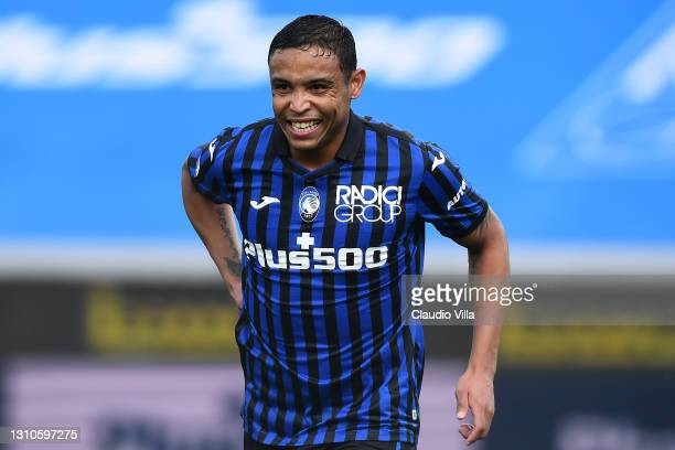 Luis Muriel of Atalanta B.C. Celebrates after scoring their side's second goal during the Serie A match between Atalanta BC and Udinese Calcio at...