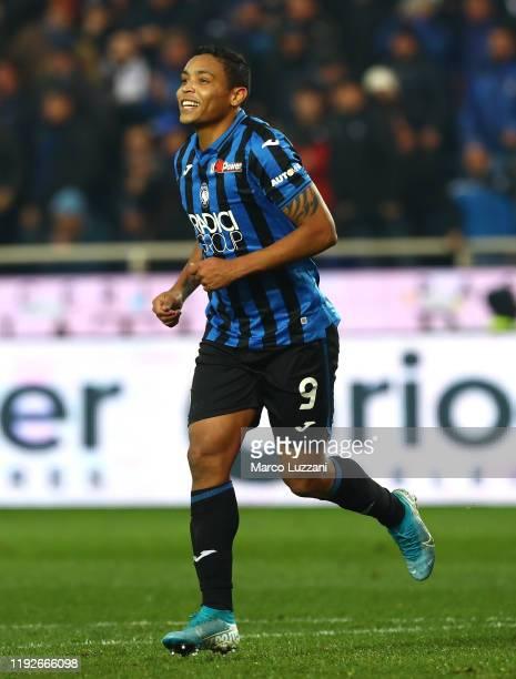 Luis Muriel of Atalanta BC celebrates his goal during the Serie A match between Atalanta BC and Hellas Verona at Gewiss Stadium on December 7, 2019...