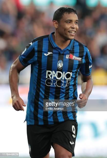 Luis Muriel of Atalanta BC celebrates his third goal during the Serie A match between Atalanta BC and Udinese Calcio at Gewiss Stadium on October 27,...