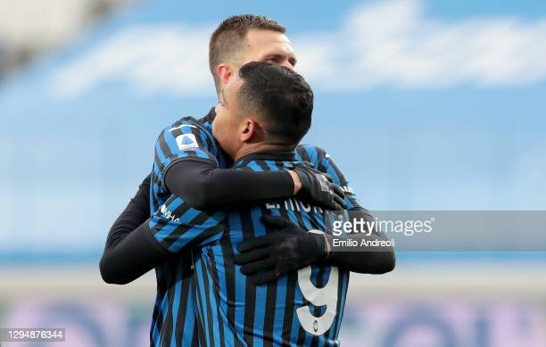 Luis Muriel of Atalanta B.C. Celebrates with Josip Ilicic of Atalanta B.C. After he scores his sides first goal during the Serie A match between...
