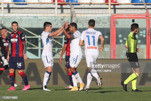 Luis Muriel of Atalanta celebrates the opening goal during the Serie A match between FC Crotone and Atalanta BC at Stadio Comunale Ezio Scida on...