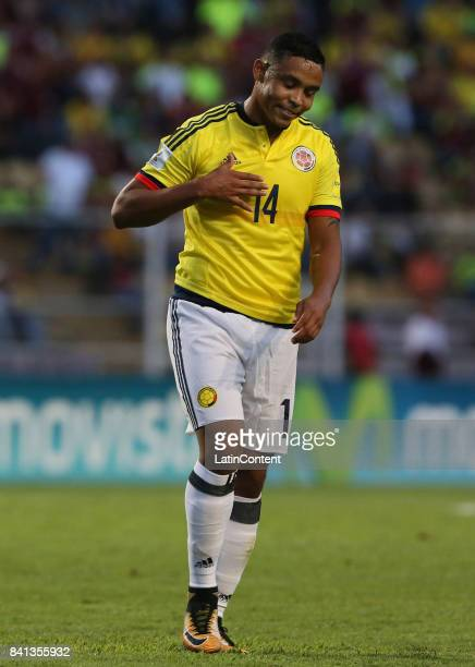 Luis Muriel of Colombia reacts during a match between Venezuela and Colombia as part of FIFA 2018 World Cup Qualifiers at Pueblo Nuevo Stadium on...