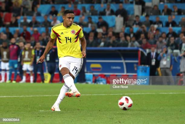 Luis Muriel of Colombia scores his team's third penalty in the penalty shoot out during the 2018 FIFA World Cup Russia Round of 16 match between...