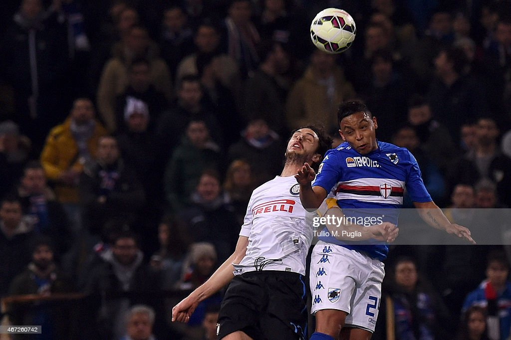 Luis Muriel (L) of Sampdoria and Andrea Ranocchia of Internazionale Milano compete for a header during the Serie A match between UC Sampdoria and FC Internazionale Milano at Stadio Luigi Ferraris on March 22, 2015 in Genoa, Italy.