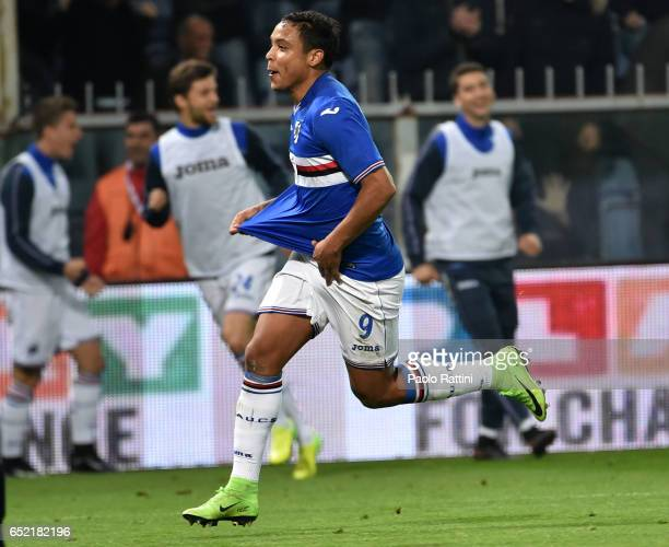 Luis Muriel of Sampdoria celebrates after goal 01 during the Serie A match between Genoa CFC and UC Sampdoria at Stadio Luigi Ferraris on March 11...