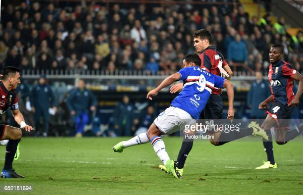 Luis Muriel of Sampdoria goal 01 during the Serie A match between Genoa CFC and UC Sampdoria at Stadio Luigi Ferraris on March 11 2017 in Genoa Italy