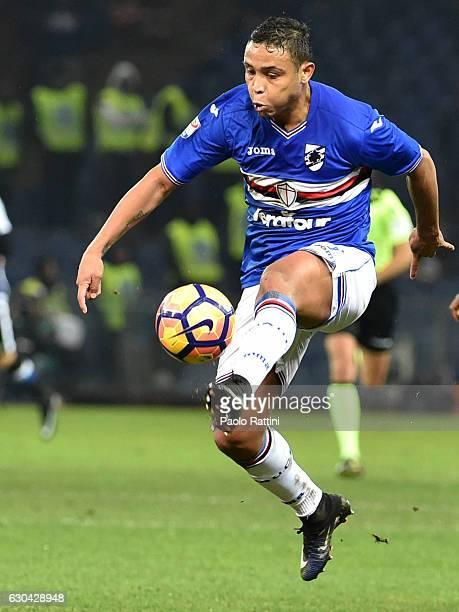 Luis Muriel of Sampdoria in action during the Serie A match between UC Sampdoria and Udinese Calcio at Stadio Luigi Ferraris on December 22 2016 in...