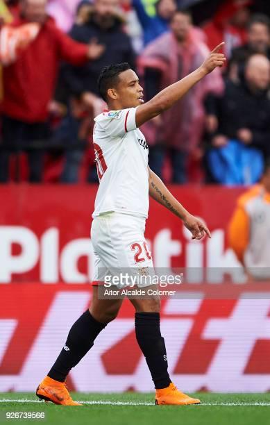 Luis Muriel of Sevilla CF celebrates after scoring goal during the La Liga match between Sevilla CF and Athletic Club at Estadio Ramon Sanchez...
