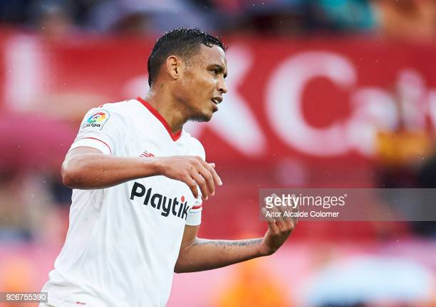 Luis Muriel of Sevilla CF reacts during the La Liga match between Sevilla CF and Athletic Club at Estadio Ramon Sanchez Pizjuan on March 3 2018 in...