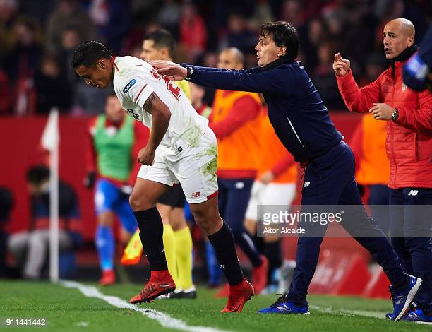 Luis Muriel of Sevilla FC celebrates after scoring the first goal for Sevilla FC with his coach Vincenzo Montella of Sevilla FC during the La Liga...