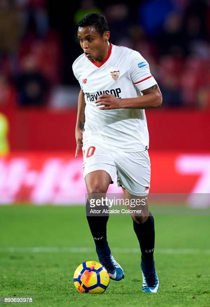 Luis Muriel of Sevilla FC controls the ball during the La Liga match between Sevilla FC and Levante UD at Estadio Ramon Sanchez Pizjuan on December...