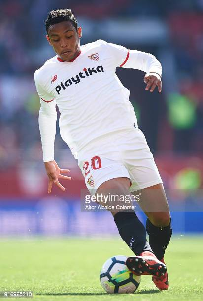 Luis Muriel of Sevilla FC in action during the La Liga match between Sevilla and Girona at Estadio Ramon Sanchez Pizjuan on February 11 2018 in...
