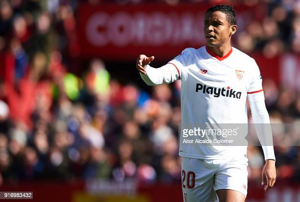 Luis Muriel of Sevilla FC reacts during the La Liga match between Sevilla and Girona at Estadio Ramon Sanchez Pizjuan on February 11 2018 in Seville...