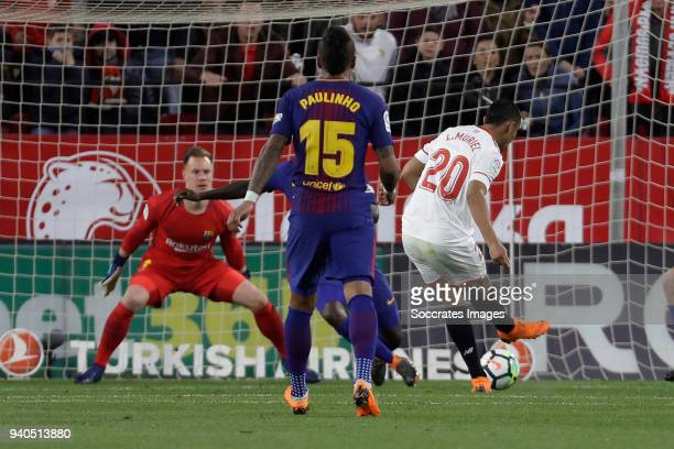 Luis Muriel of Sevilla FC scores the second goal to make it 20 during the La Liga Santander match between Sevilla v FC Barcelona at the Estadio Ramon...