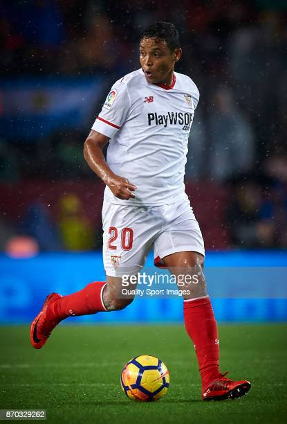 Luis Muriel of Sevilla in action during the La Liga match between Barcelona and Sevilla at Camp Nou on November 4 2017 in Barcelona Spain