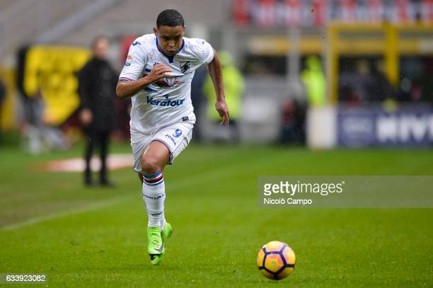 Luis Muriel of UC Sampdoria in action during the Serie A football match between AC Milan and UC Sampdoria UC Sampdoria wins 10 over AC Milan