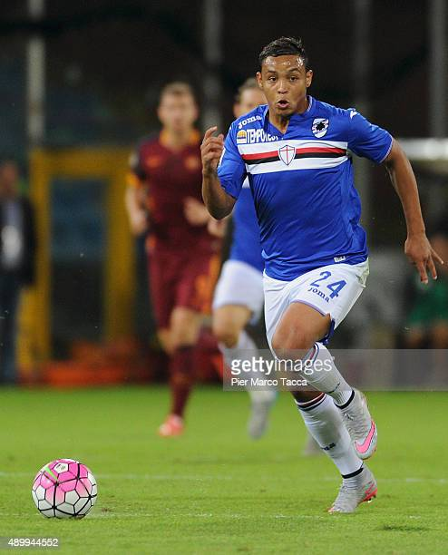Luis Muriel of UC Sampdoria in action during the Serie A match between UC Sampdoria and AS Roma at Stadio Luigi Ferraris on September 23 2015 in...