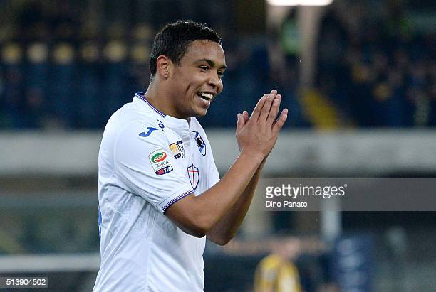 Luis Muriel of UC Sampdoria reacts during the Serie A match between Hellas Verona FC and UC Sampdoria at Stadio Marc'Antonio Bentegodi on March 5...