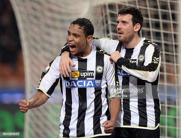 Luis Muriel of Udinese Calcio celebrates scoring the first goal during the TIM Cup match between AC Milan and Udinese Calcio at Stadio Giuseppe...