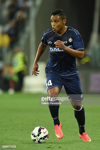 Luis Muriel of Udinese Calcio in action during the Serie A match between Juventus FC and Udinese Calcio at Juventus Arena on September 13 2014 in...