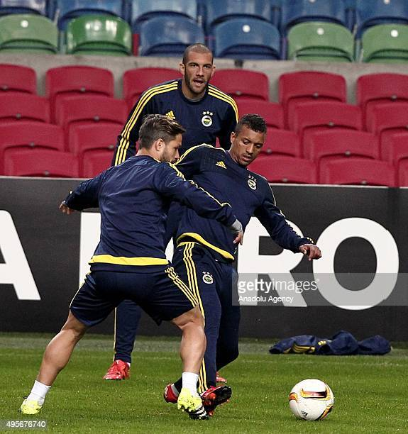 Luis Nani and Diego Ribas of Fenerbahce attends a training session in Amsterdam Netherlands on November 4 2015 Ajax will face Fenerbahce in the UEFA...