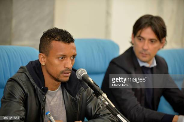 Luis Nani and Simone Inzaghi of SS Lazio the SS Lazio players meet students during a visit to Leonardo Da Vinci school on March 28 2018 in Rome Italy