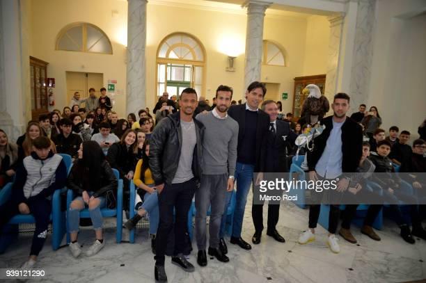Luis Nani Davide Di Gennaro Simone Inzaghi and Luca Crecco of SS lazio during the SS Lazio players meet students during a visit to Leonardo Da Vinci...