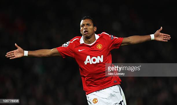 Luis Nani of Manchester United celebrates as he scores their first goal during the UEFA Champions League Group C match between Manchester United and...