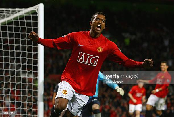 Luis Nani of Manchester United celebrates as he scores their fourth goal during the Barclays Premier League match between Manchester United and West...