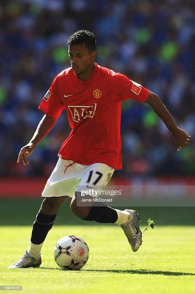 Luis Nani of Manchester United in action during the FA Community Shield match between Chelsea and Manchester United at Wembley Stadium on August 5, 2007 in London,England.