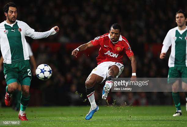 Luis Nani of Manchester United scores their first goal during the UEFA Champions League Group C match between Manchester United and Bursaspor Kulubu...