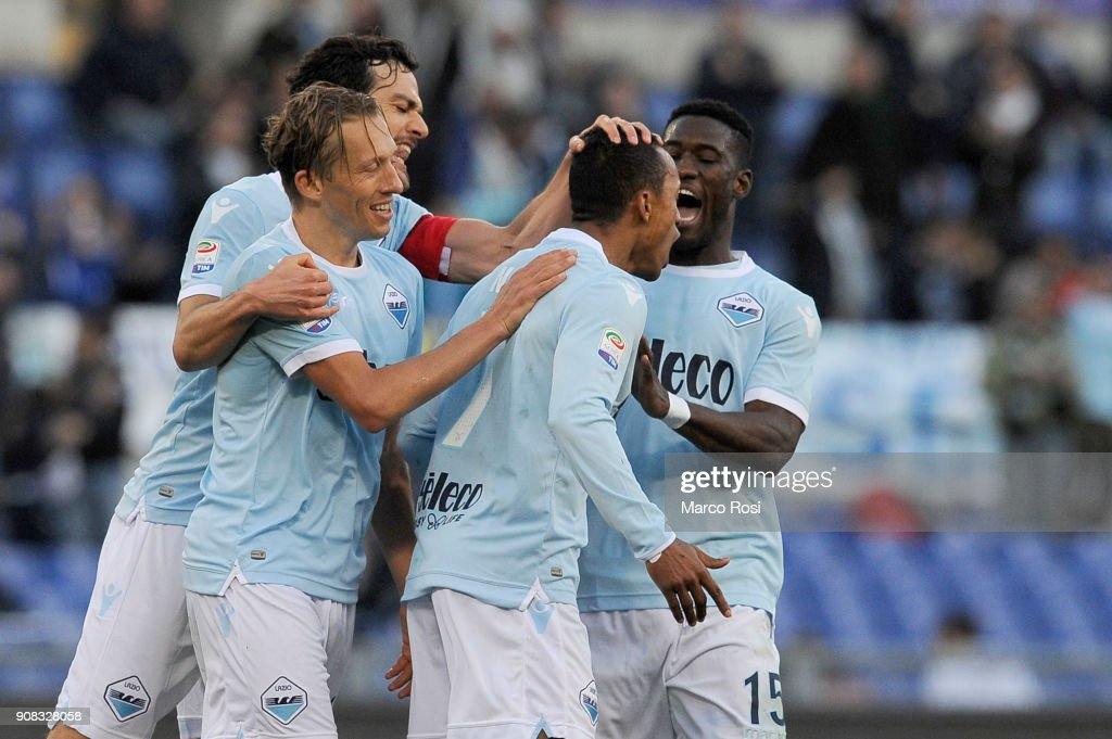 Luis Nani of SS Lazio celebrates a fifth goal during the serie A match between SS Lazio and AC Chievo Verona at Stadio Olimpico on January 21, 2018 in Rome, Italy.