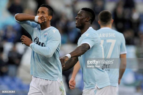 Luis Nani of SS Lazio celebrates a fifth goal during the serie A match between SS Lazio and AC Chievo Verona at Stadio Olimpico on January 21 2018 in...