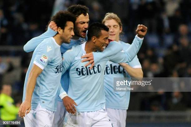 Luis Nani of SS Lazio celebrates after scoring his team's second goal during the Serie A match between SS Lazio and Udinese Calcio on January 24 2018...