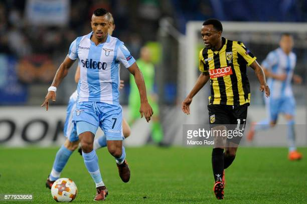 Luis Nani of SS Lazio compete for the ball with Thulani Sereno of Vitesse during the UEFA Europa League group K match between SS Lazio and Vitesse at...