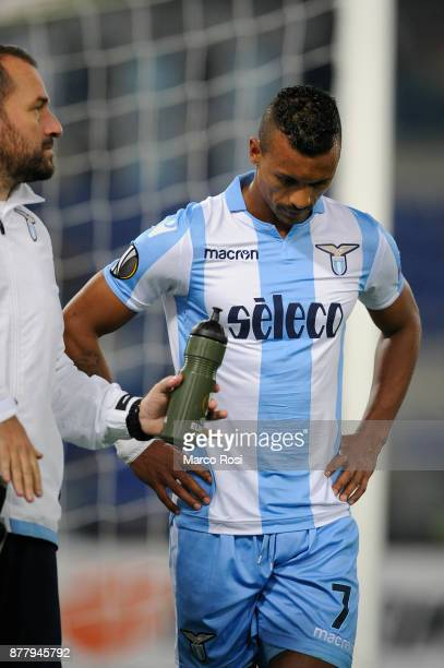 Luis Nani of SS Lazio injured during the UEFA Europa League group K match between SS Lazio and Vitesse at Olimpico Stadium on November 23 2017 in...
