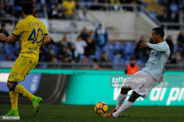 Luis Nani of SS Lazio scores a fifth goal during the serie A match between SS Lazio and AC Chievo Verona at Stadio Olimpico on January 21 2018 in...