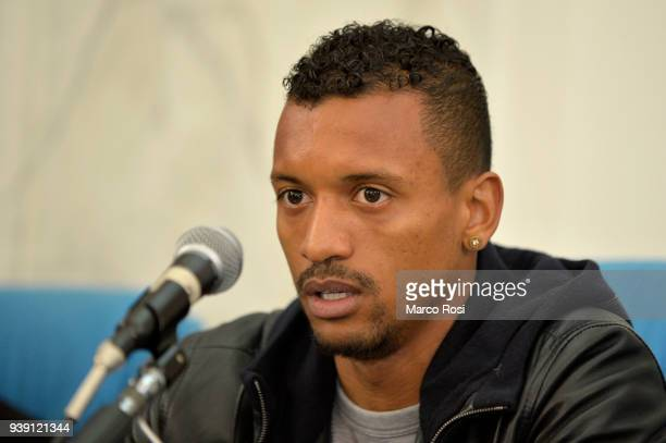 Luis Nani of SS Lazio the SS Lazio players meet students during a visit to Leonardo Da Vinci school on March 28 2018 in Rome Italy