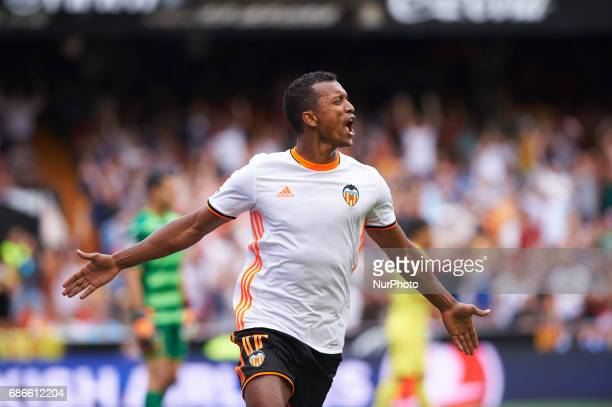 Luis Nani of Valencia CF celebrates after scoring a goal during their La Liga match between Valencia CF and Villarreal CF at the Mestalla Stadium on...