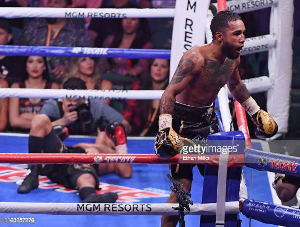 Luis Nery celebrates his ninth-round knockout victory over Juan Carlo Payano in their bantamweight bout at MGM Grand Garden Arena on July 20, 2019 in...