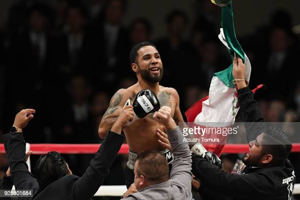 Luis Nery of Mexico celebrates winning his fight against Shinsuke Yamanaka of Japan in second round during their WBC bantamweight title bout at...