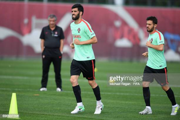 Luis Neto and Bernardo Silva look on during the Portugal training session on June 16 2017 in Kazan Russia