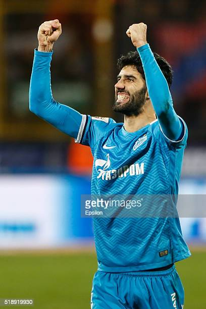Luis Neto of FC Zenit St Petersburg celebrates during the Russian Football League match between FC Zenit St Petersburg and PFC CSKA Moscow at...