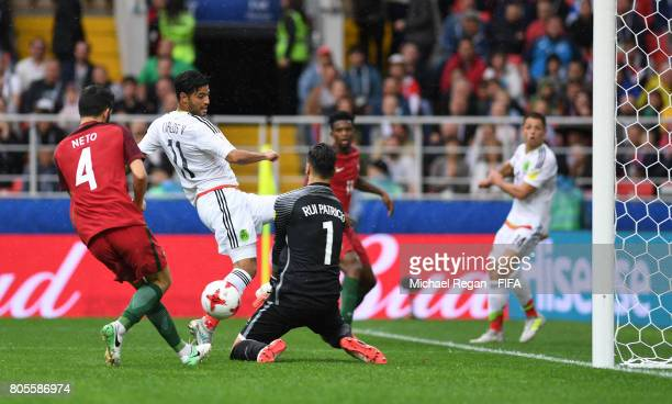Luis Neto of Portugal scores a own goal for Mexico's first goal during the FIFA Confederations Cup Russia 2017 Play-Off for Third Place between...