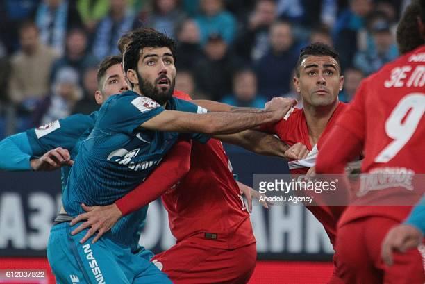 Luis Neto of Zenit StPetersburg in action against Mauricio of Spartak Moscow during Russian Footbal PremiereLeague football match between Zenit...