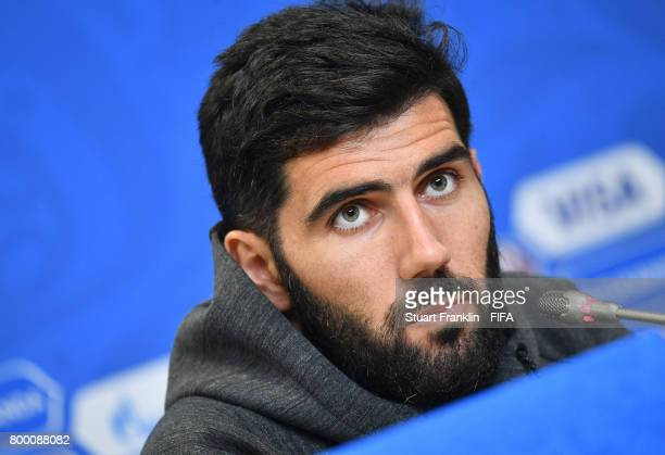 Luis Neto talks to the media during a press conference of the Portugal national football team on June 23 2017 in Saint Petersburg Russia