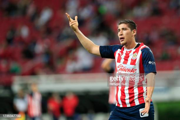 Luis Olivas of Chivas reacts during the 9th round match between Chivas and Pachuca as part of the Torneo Grita Mexico A21 Liga MX at Akron Stadium on...