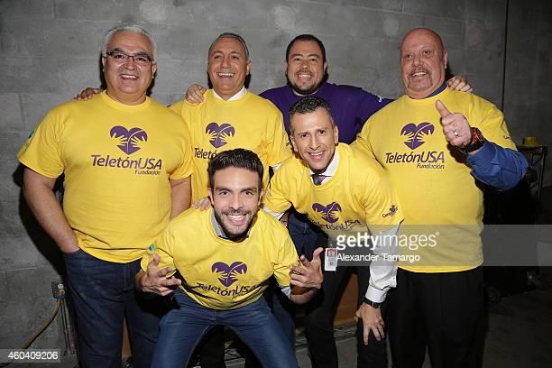 Luis Omar Tapia Hristo Stoichkov Raul Guzman Felix Fernandez Enrique Bermudez and Edgar Martinez poses backstage at Univision's Teleton USA 2014 at...