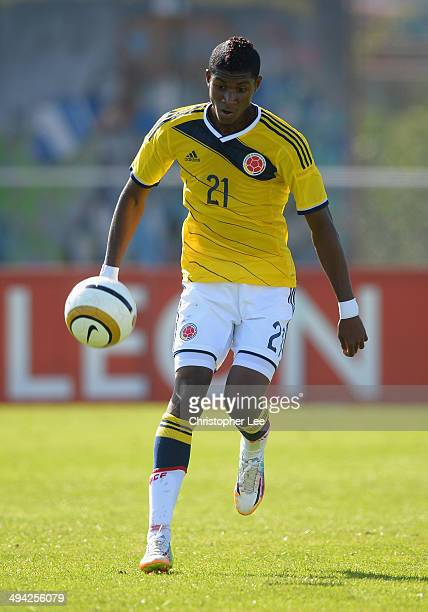 Luis Orejuela of Colombia in action during the Toulon Tournament Group B match between Colombia and Qatar at the Stade De Lattre on May 28, 2014 in...