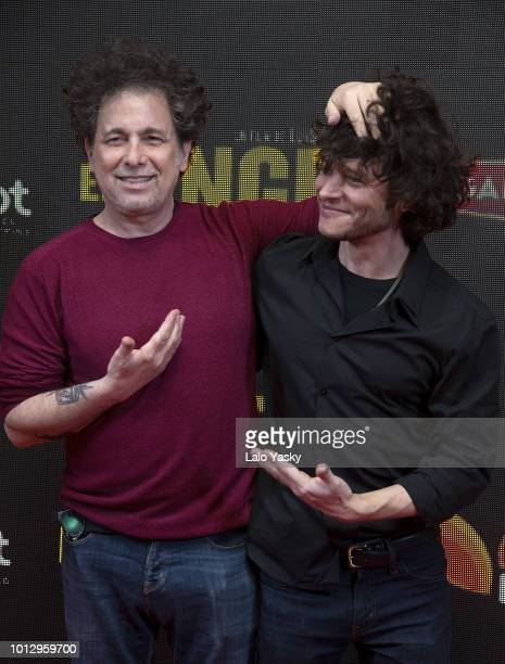 Luis Ortega and Andres Calamaro attend the premiere of 'El Angel' at the Hoyts Dot Baires cinema on August 7 2018 in Buenos Aires Argentina